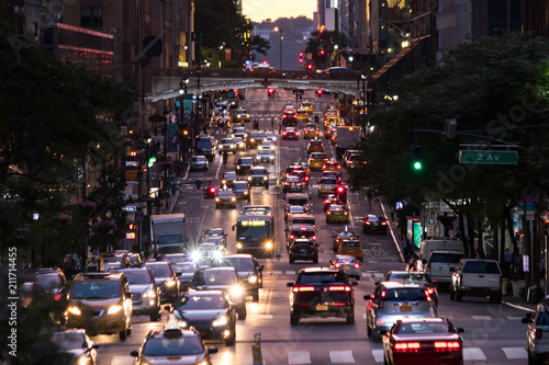 Lights from crosstown traffic on 42nd Street in Midtown Manhattan New York City
