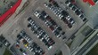 Abstract overhead aerial shot of parking lot of modern shopping mall in Zagreb, Croatia