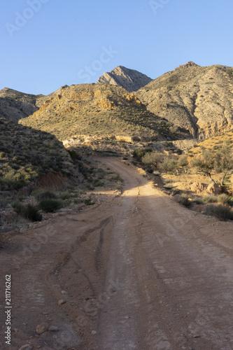 Mountain pico del agudo  La Murada Orihuela, Spain Mountain landscape with path Wallpaper Mural
