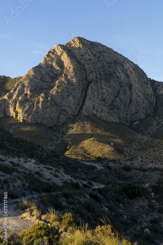 Mountain pico del agudo  La Murada Orihuela, Spain Mountain landscape with path Canvas Print