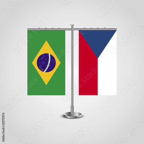 Table stand with flags of Brazil and Czech Republic Poster