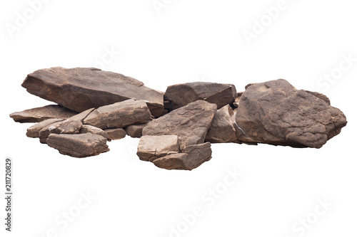 Fotografiet  rock isolated on white background