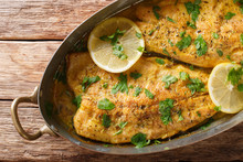 Baked Trout Fish With Garlic Lemon Butter Sauce, Parsley Closeup In A Copper Pan On A Table. Horizontal Top View
