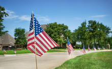 American Flags Displayed In Ho...