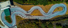 Aerial Drone View Of A Kart Racing In The Forest, View From Above, Turkey