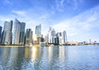 Singapore skyscraper with modern building around Marina bay