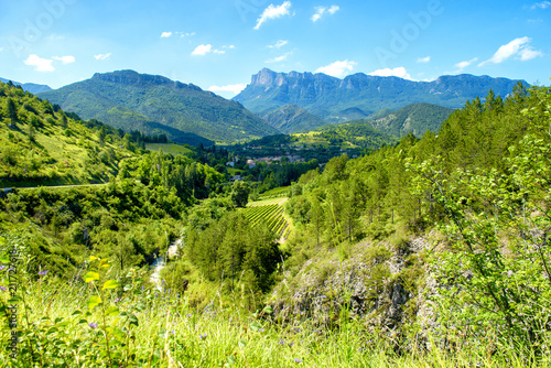 mountain landscape in the Drome in France