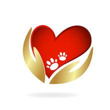 Hand Love Care Footprint Dog P...