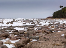 Rocks And Snow On The Coast Of...