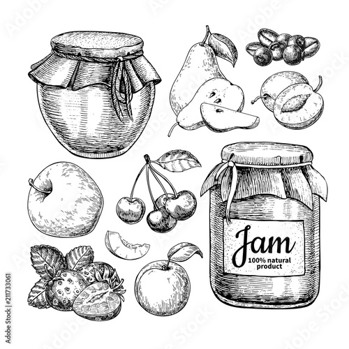 Photo Fruit jam glass jar vector drawing. Jelly and marmalade with str