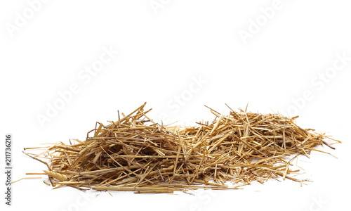Fototapeta Straw pile isolated on white background and texture