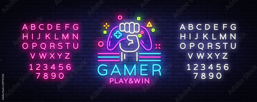 Fototapeta Gamer Play Win logo neon sign Vector logo design template. Game night logo in neon style, gamepad in hand, modern trend design, light banner, bright advertisement. Vector. Editing text neon sign