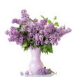 Lush bouquet of lilac in vase isolated on white