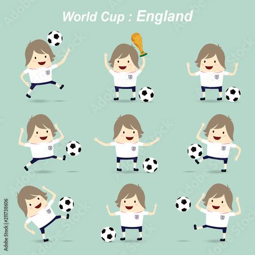 Fotografie, Obraz  set character football actions player england national team, world cup idea