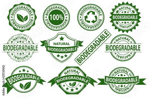 Foto Biodegradable rubber stamp label sign symbol