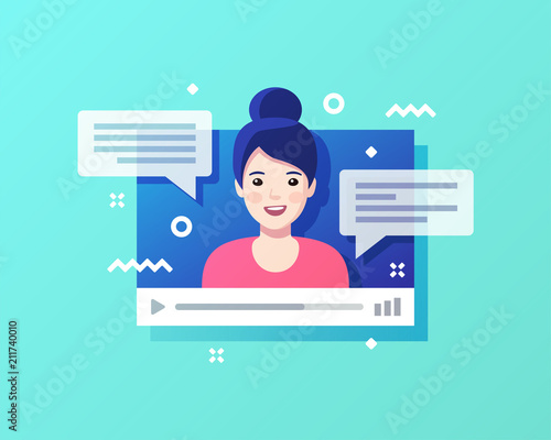 Obraz Concept of on-line video chat app, internet talk, call technology. Video player window with speaking woman and messages. Vector illustration. - fototapety do salonu