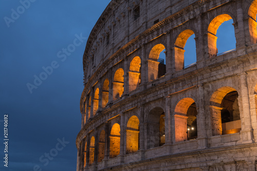 Fényképezés  Roman Colosseum or Coliseum at dusk in Rome, Italy