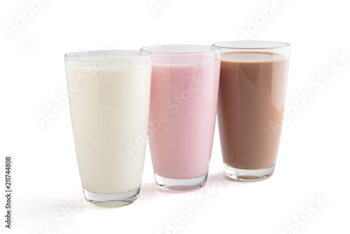 Strawberry, chocolate and fresh milk in a glass isolated on white, Top view, clipping path.