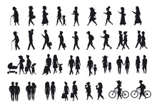 Sihlouettes Set Of People Walk...