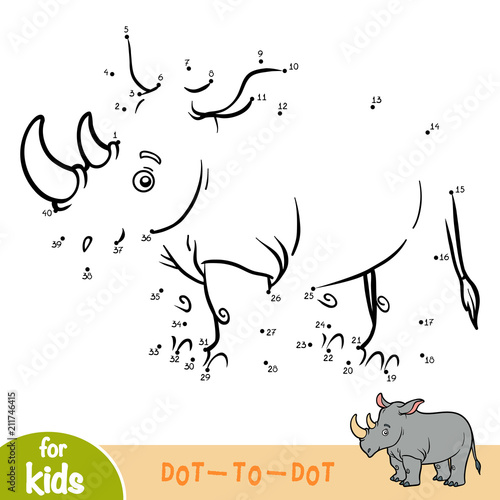 Numbers game, education game for children, Rhino