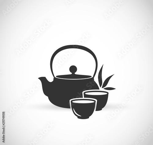 Obraz na plátně Japanese tea pot icon vector