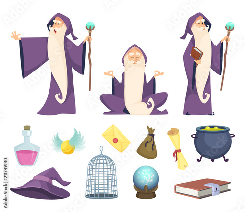 Photo Set of magician tools and male wizard character