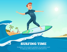 Surfer Swimming. Dynamic Illustration Of Surfer On The Surfboard