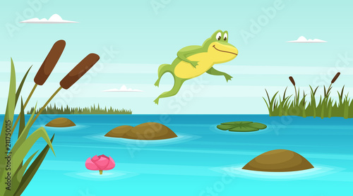Frog jumping in pond. Vector cartoon background Fototapet