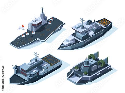 Military boats isometric. Vector american navy Fototapeta