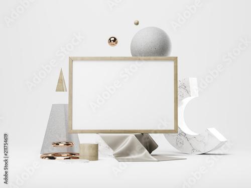 Poster frame Mockup. 3d illustration - 211754619