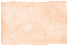 Rose Beige, Natural Watercolor Texture With Stains And Rounded, Uneven Edges. Pastel, Light Brown Aquarelle Template For Banners, Posters. Human Skin, Foundation Color Painted Watercolour Background.