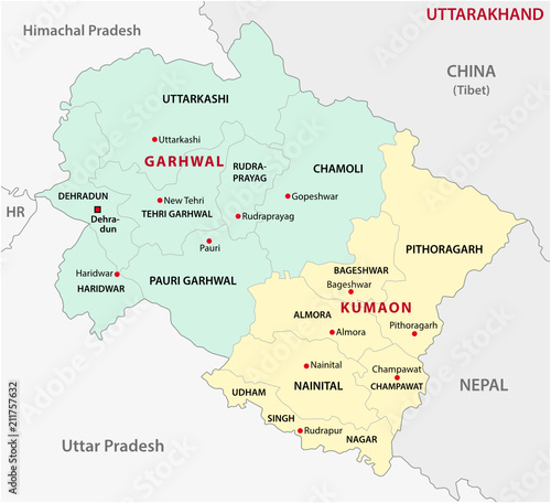 uttarakhand administrative and political division vector map - Buy ...