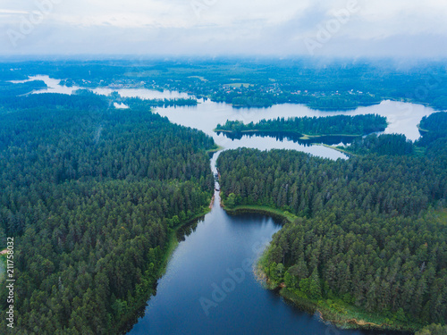 In de dag Groen blauw Lake Seliger from above. Russian landscape