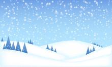 Vector Winter Landscape - Christmas Background