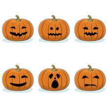 Set Of Carved Scary Pumpkins, ...