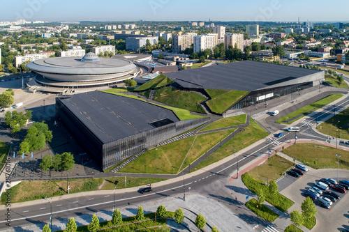 Katowice, Poland. City center - aerial skyline with artificial canyon.