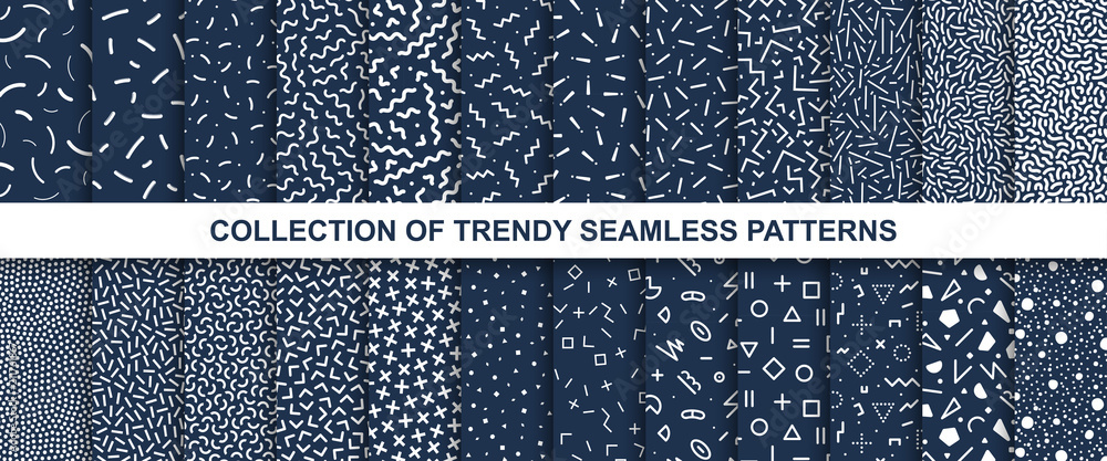 Fototapety, obrazy: Big collection of memphis seamless vector patterns. Fashion design 80-90s.