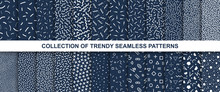 Big Collection Of Memphis Seamless Vector Patterns. Fashion Design 80-90s.
