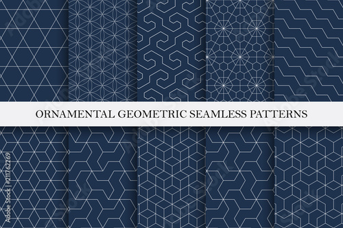 Collection of seamless ornamental vector patterns. Geometric oriental design.