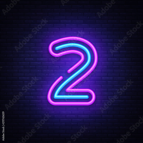 Number two symbol neon sign vector  Number two template neon
