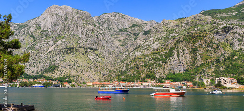 Keuken foto achterwand Donkergrijs Nature landscape in boka-kotor bay with boats in the water, old european city Kotor surrounded mountains in Adriatic sea coastline, Montenegro