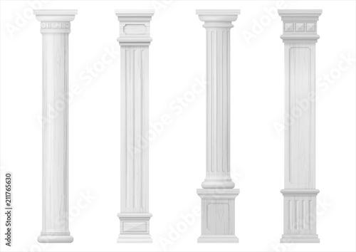 Fotografie, Obraz Set of white classic wood columns