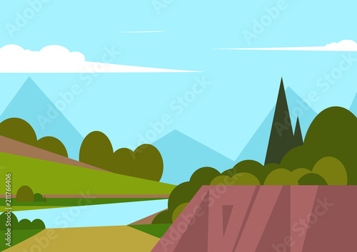 Photo Stands Turquoise Vector illustration of beautiful landscape fields with river and mountains, green hills, bright colors of blue sky, background in cartoon style.