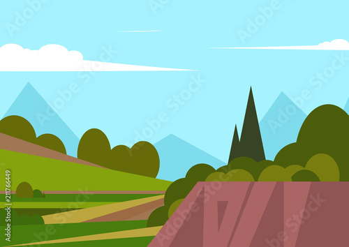 Foto op Canvas Lichtblauw Vector illustration of beautiful landscape fields with mountains, green hills, bright colors of blue sky, background in cartoon style.