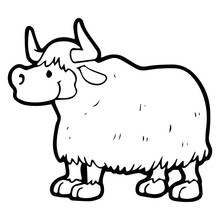 Yak Cartoon Illustration Isolated On White Background For Children Color Book