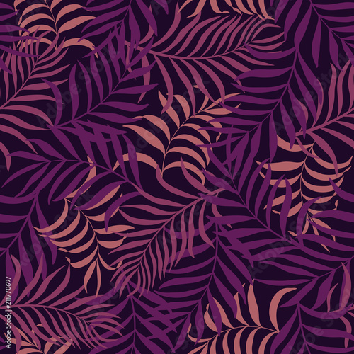 Foto op Canvas Kunstmatig Tropical background with palm leaves. Seamless floral pattern. Summer vector illustration