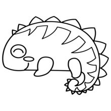Gecko Cartoon Illustration Isolated On White Background For Children Color Book