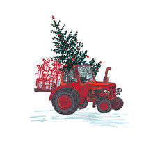Festive New Year 2019 Card. Red Tractor With Fir Tree Decorated Red Balls And Holiday Gifts Isolated On White Background