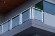Leinwanddruck Bild - Modern architecture terrace aluminum rail and fall protection. tempered glass