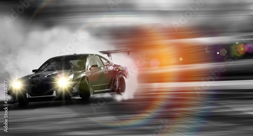 Plakat Car drifting, Sport car wheel drifting and smoking on blurred background.